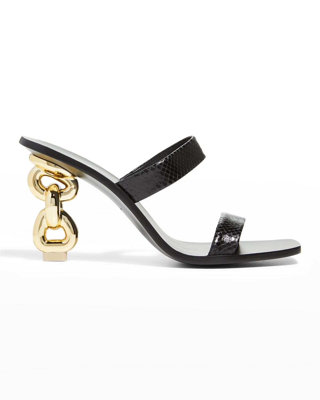 Vivianne Snake-Print Chain Slide Sandals
