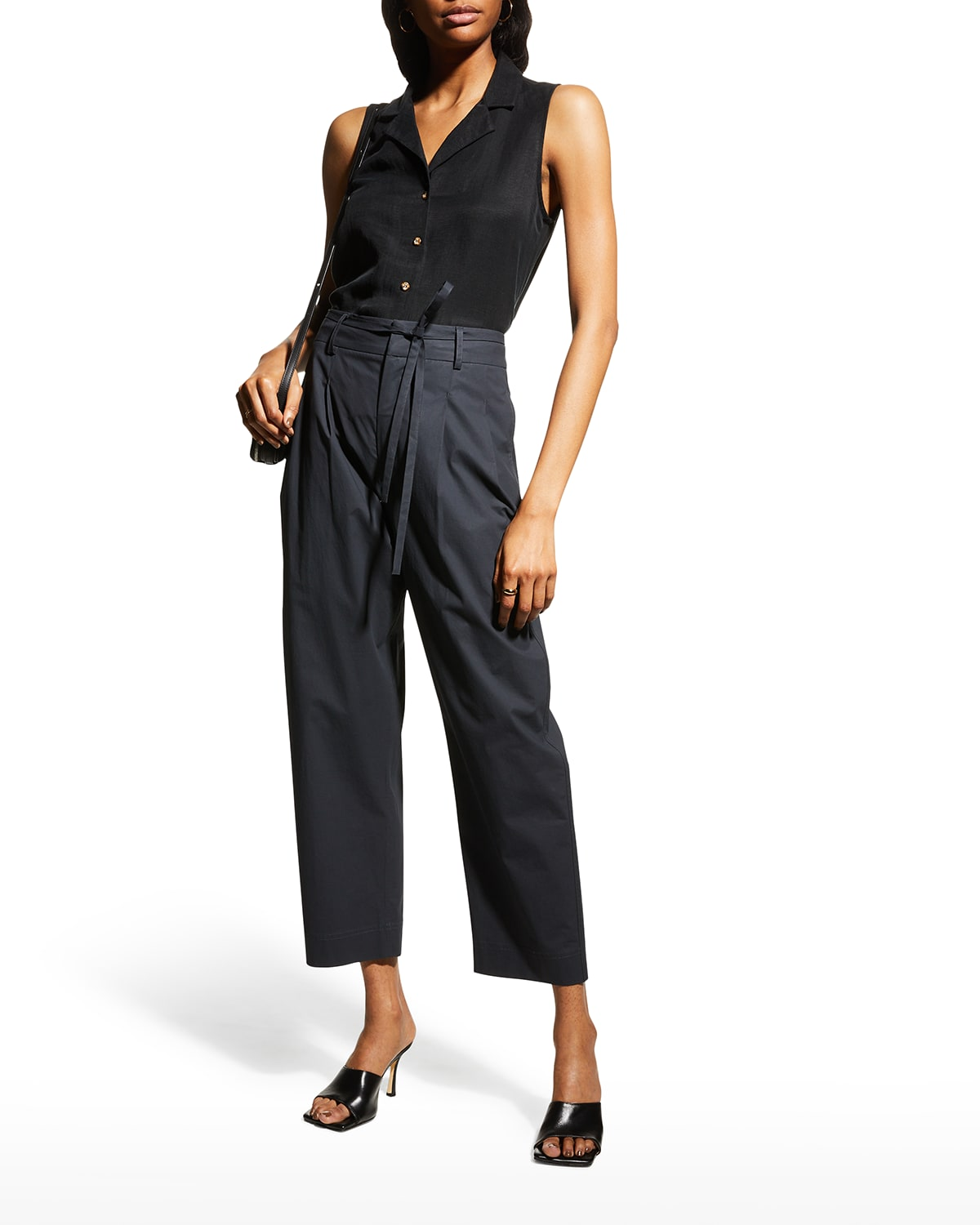 Notched-Collar Sleeveless Button-Front Top