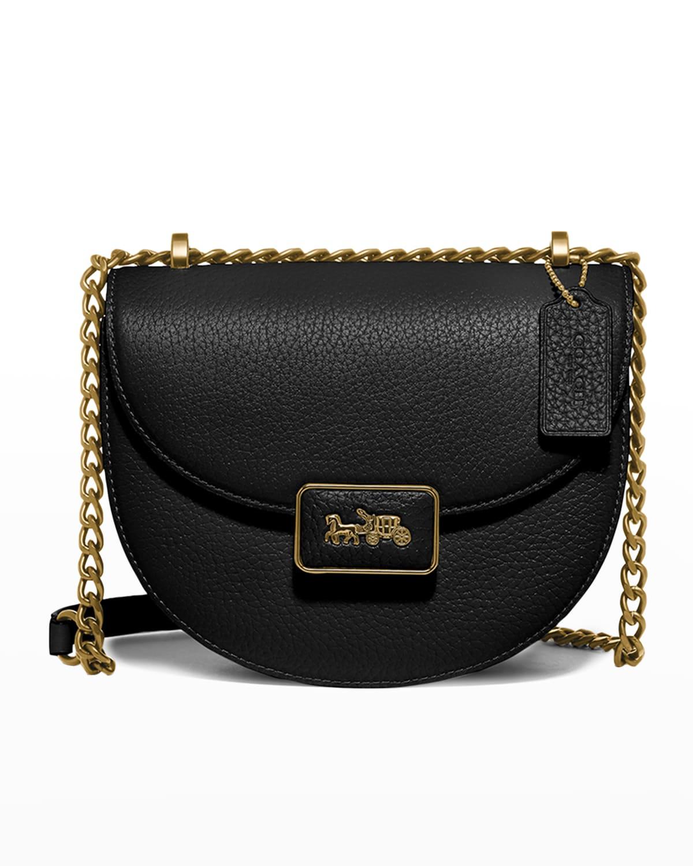 Alie Pebbled Leather Saddle Crossbody Bag