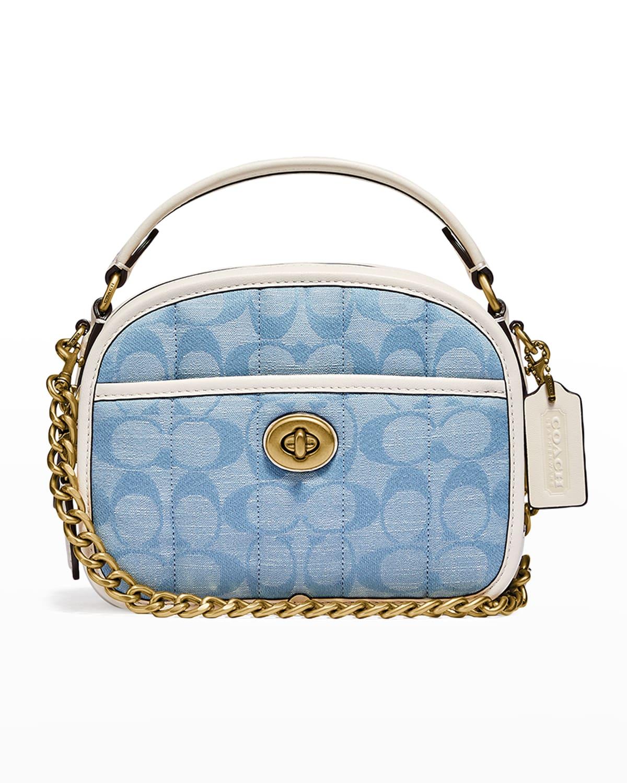 Signature Jacquard Denim Lunchbox Top-Handle Bag