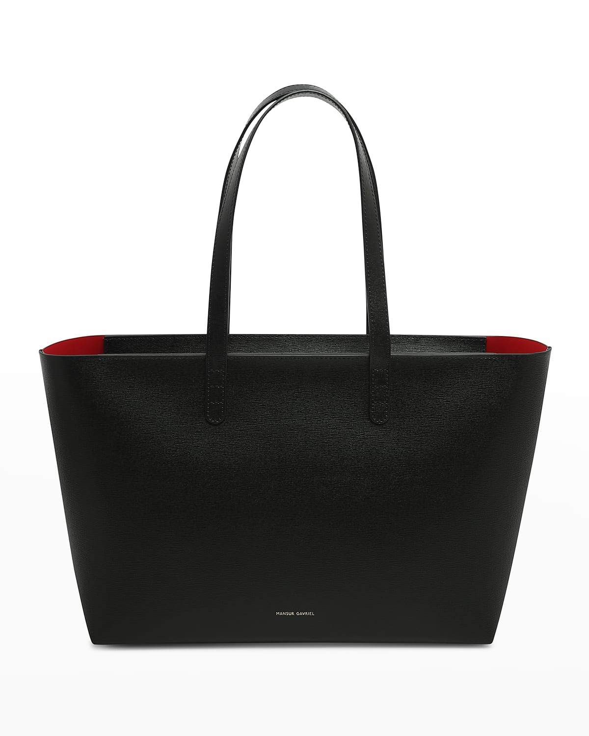 Small East-West Zip Leather Tote Bag