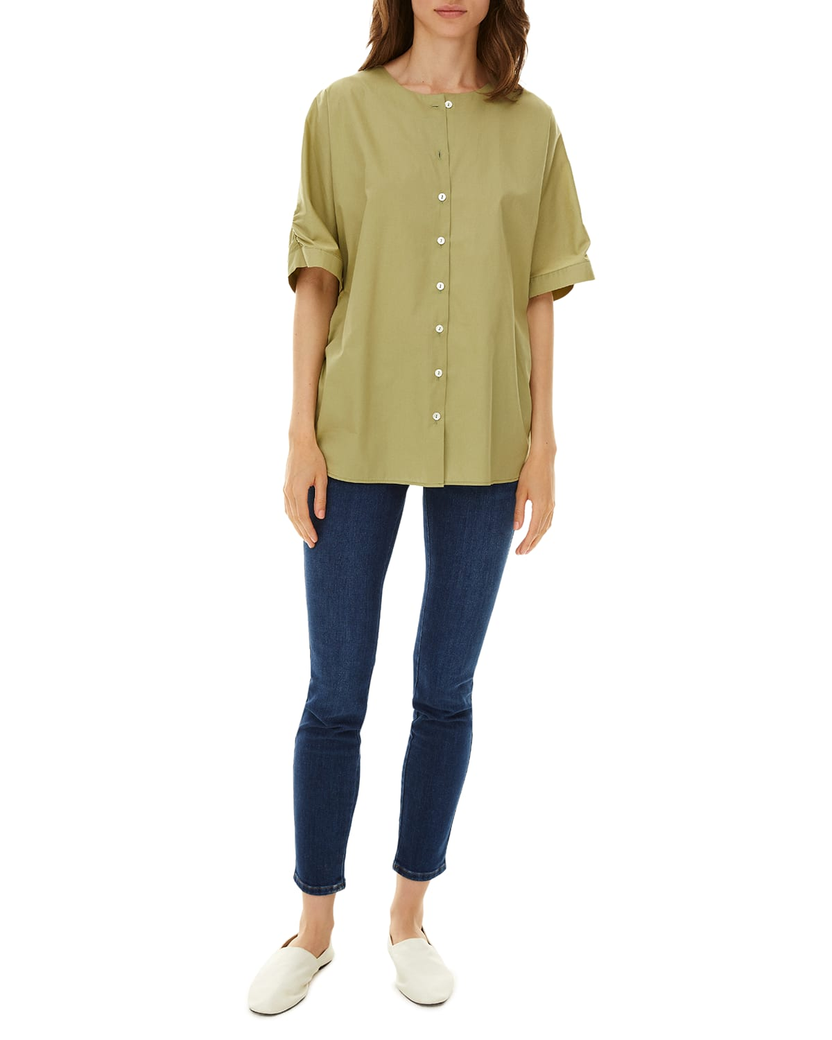 Aelin Button-Front Twill Top
