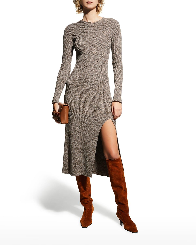 Segovia Ribbed Bodycon Slit Dress