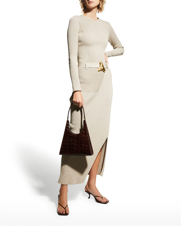 Daria Belted Rib-Knit Skirt