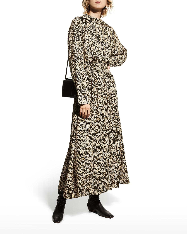 Japura Collared Shirred-Waist Maxi Dress