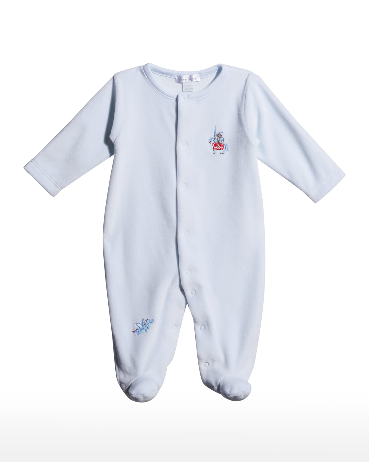 Boy's Mighty Dragons Velour Footie Playsuit