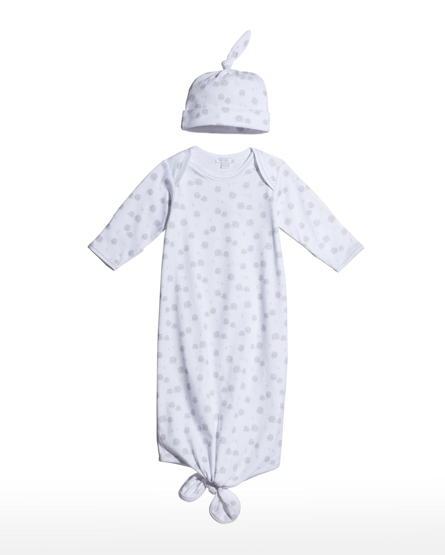 Girl's Hedgehog Haven Gown & Baby Hat Set