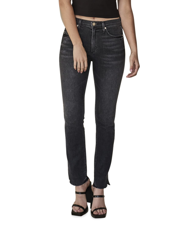 Enzo High-Rise Straight Jeans with Split Hem
