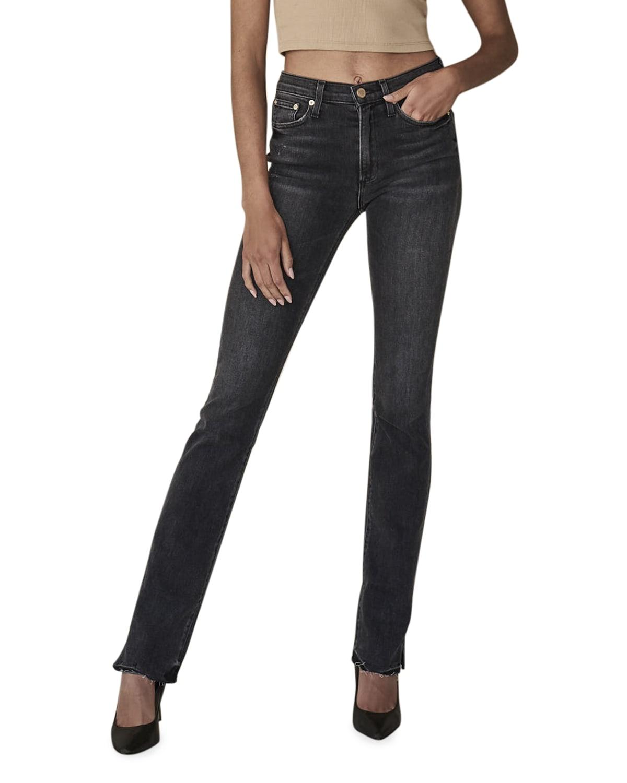 Enzo High-Rise Straight-Leg Jeans with Split Hem