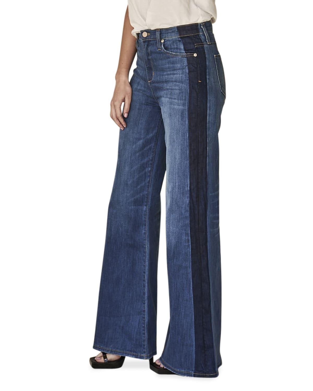 Cynthia High-Rise Flare Jeans w/ Tuxedo Stripe