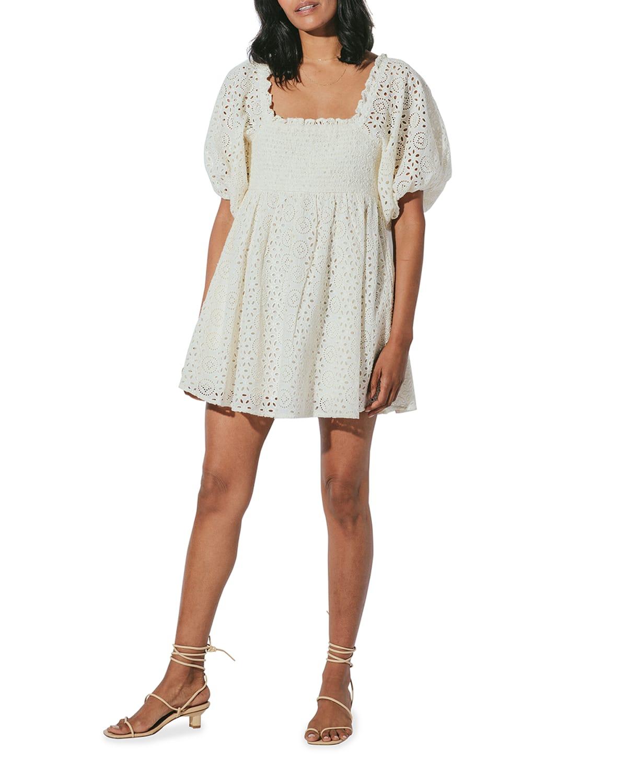 Lucca Organic Cotton Eyelet Mini Dress