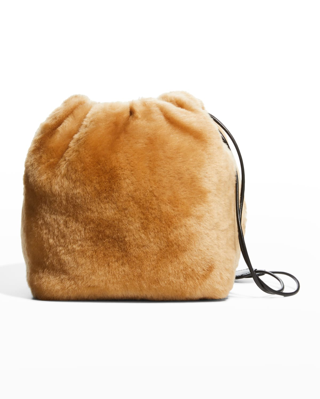Shearling Small Drawstring Crossbody Bag