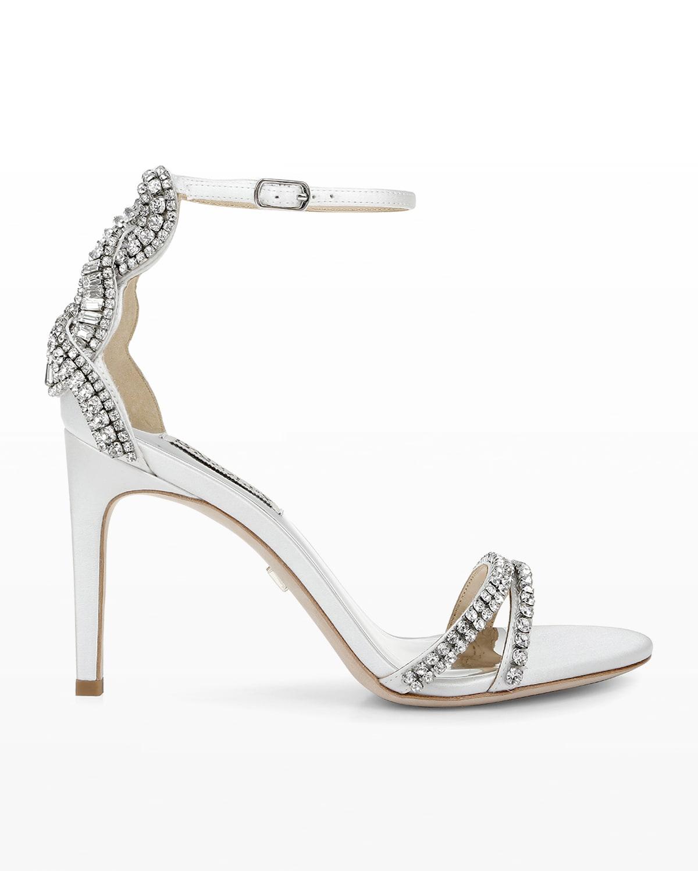 Bella Metallic Crystal Ankle-Strap Sandals