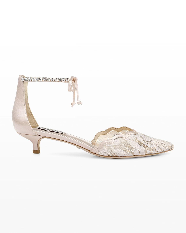 Betsy Lace Ankle-Tie Kitten Pumps
