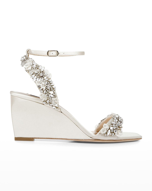 Blakeley Crystal Satin Wedge Sandals