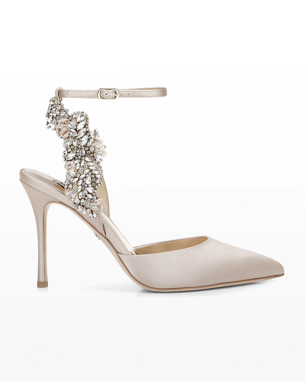 Blanca Satin Crystal Ankle-Strap High-Heel Pumps