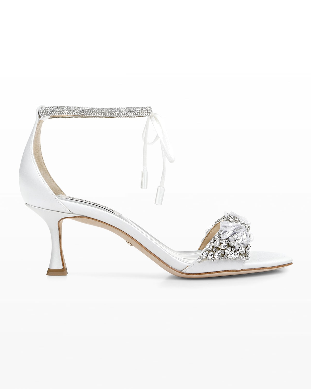 Blossom Satin Crystal Ankle-Tie Sandals