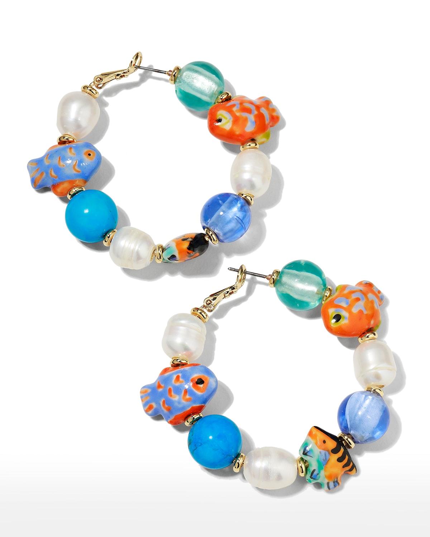Bimini Glass Beaded Hoop Earrings
