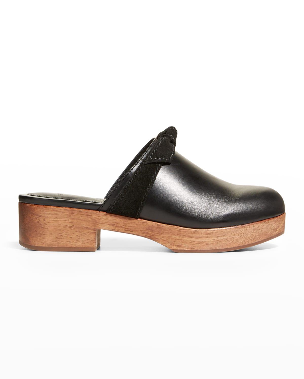 Clarita Leather Knot Mule Clogs