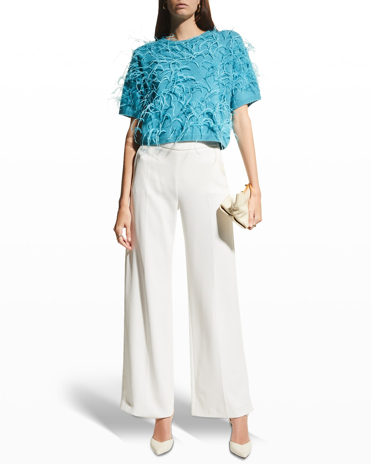 Feather Embroidered Cashmere Boxy Tee