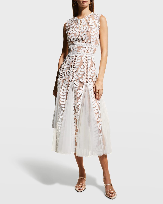 Saba Blanc Floral-Appliqué Lace Midi Dress