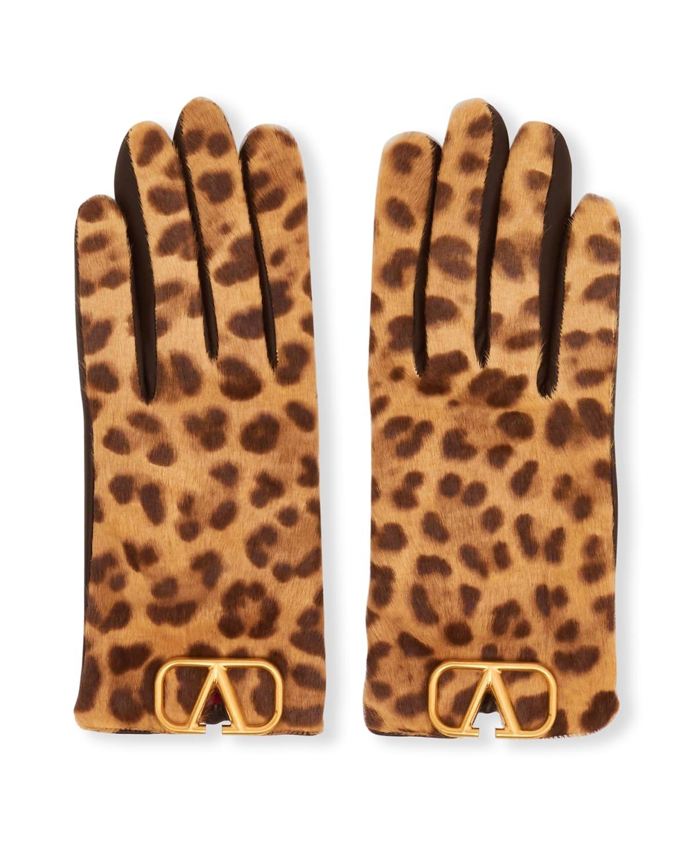 VLOGO Leopard-Print Calf Hair/Cashmere Gloves