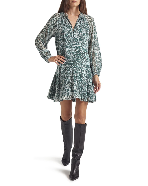 Tariana Printed Silk A-Line Dress