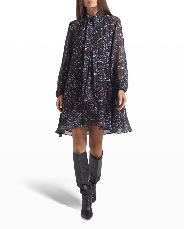 Roma Tie-Neck Silk Dress