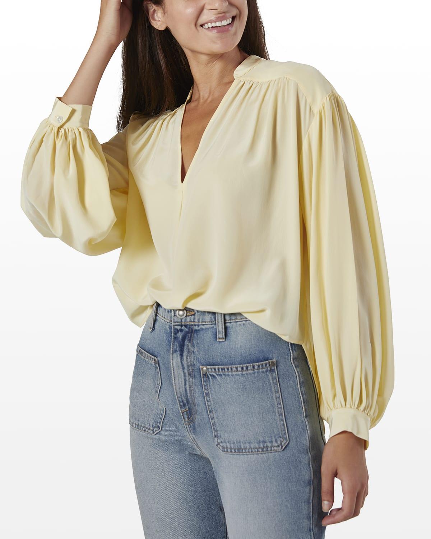 Lasha Solid Silk Blouse