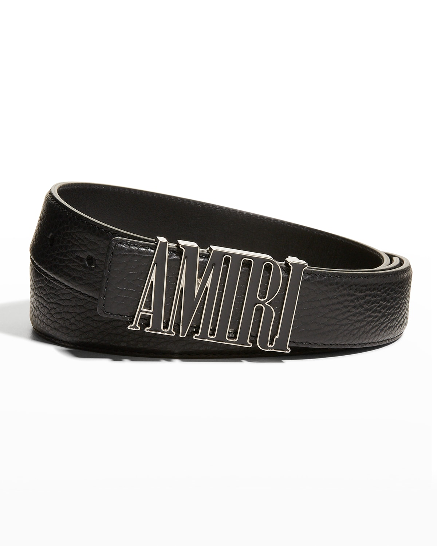 Men's Enamel-Logo Leather Belt