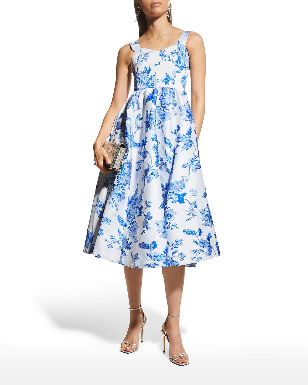Puff Puff Floral Jacquard Dress