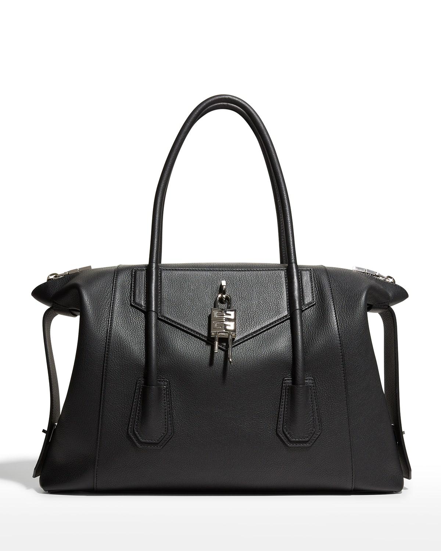 Men's Antigona Lock Soft Leather Duffel Bag