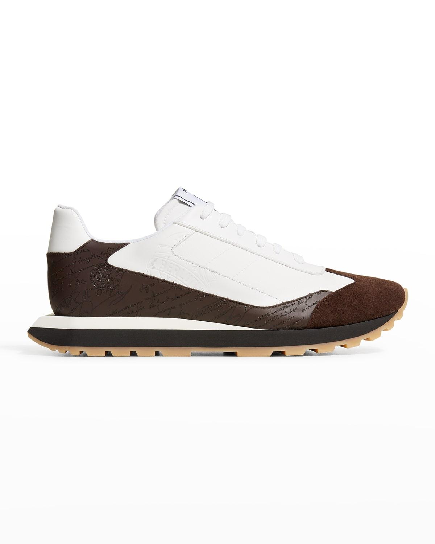 Men's Script-Embossed Trainer Sneakers