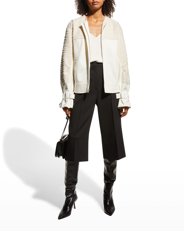 Cassie Boucle Mixed-Media Jacket