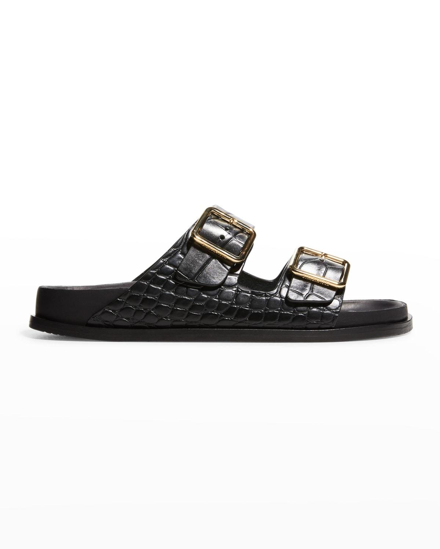 Arizona Mock-Croc Dual-Buckle Sandals
