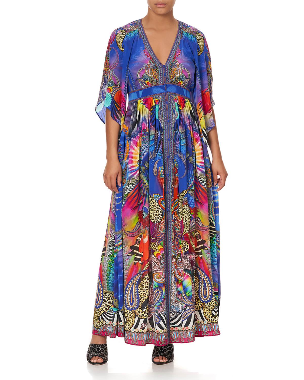 Printed Silk Long Dress with Smocked Waist