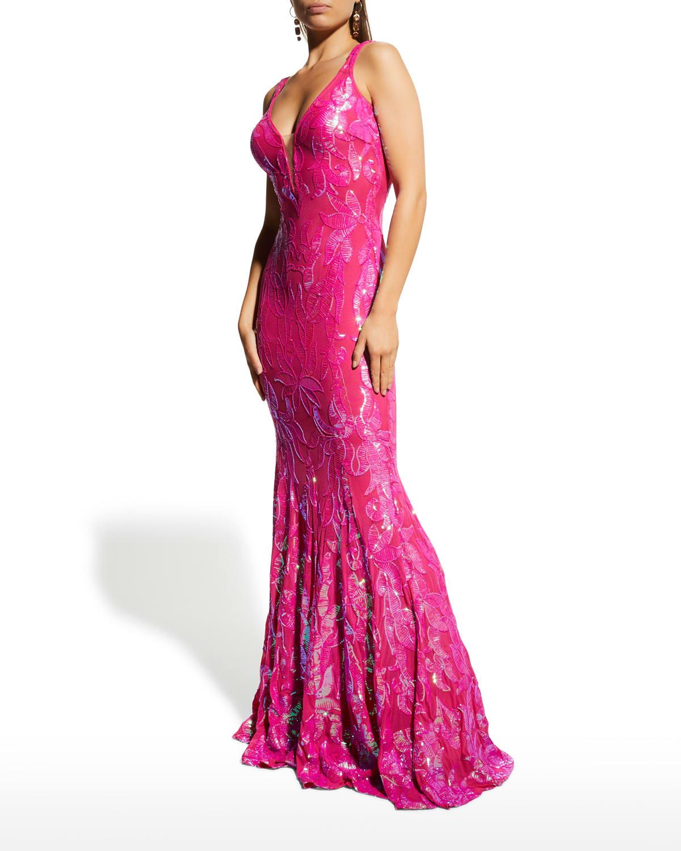 Sequined V-Neck Sleeveless Gown