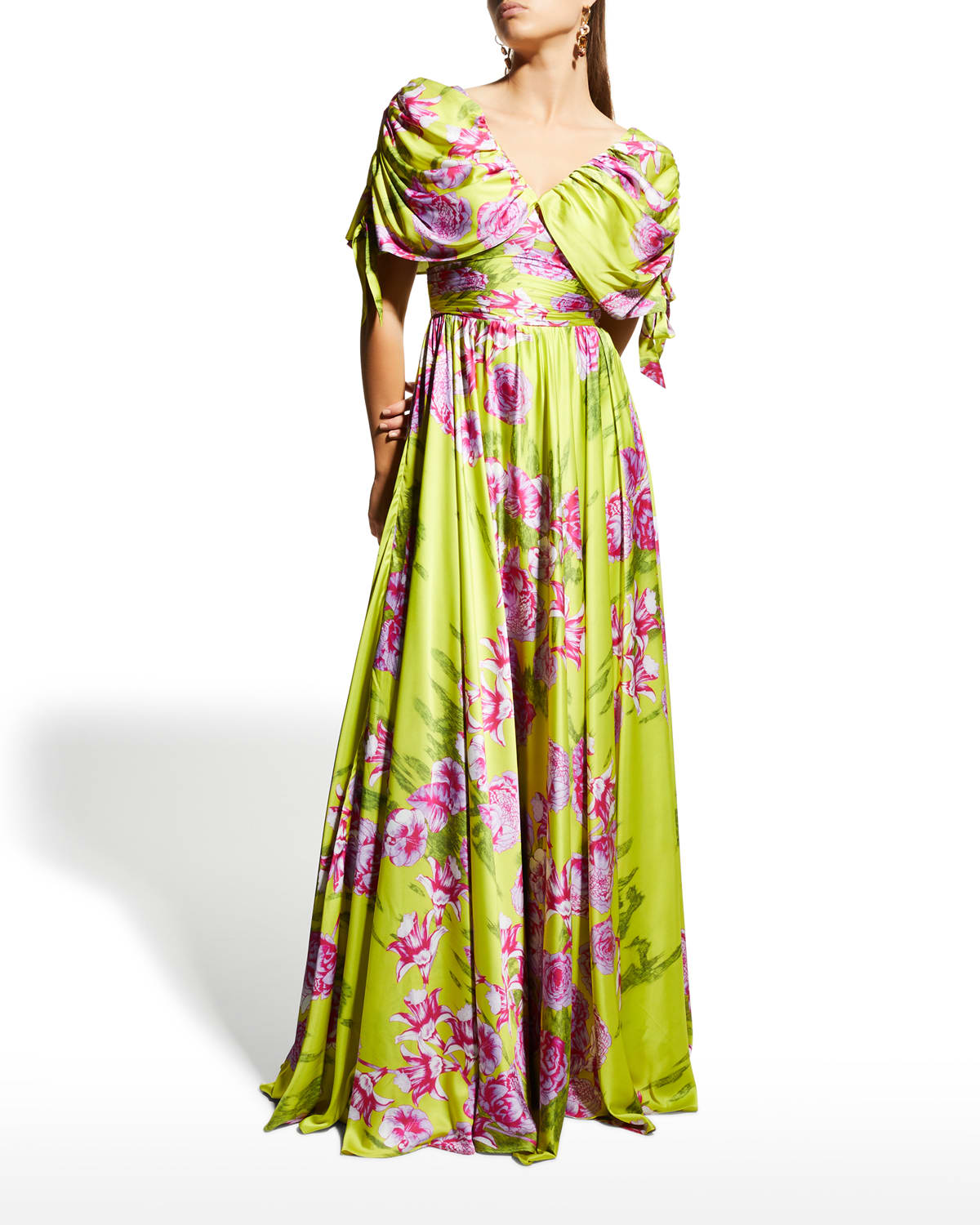 Floral-Print Ruched Drape-Sleeve A-Line Gown