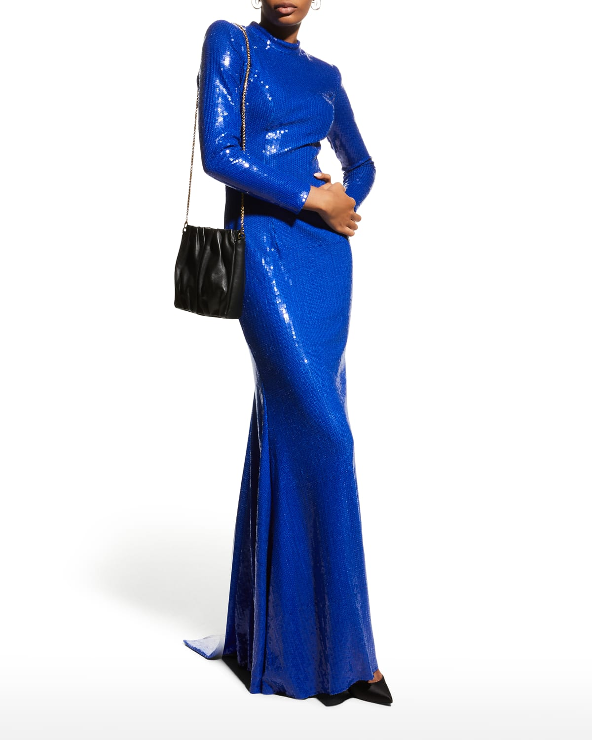 Sequined High-Neck Long-Sleeve Gown