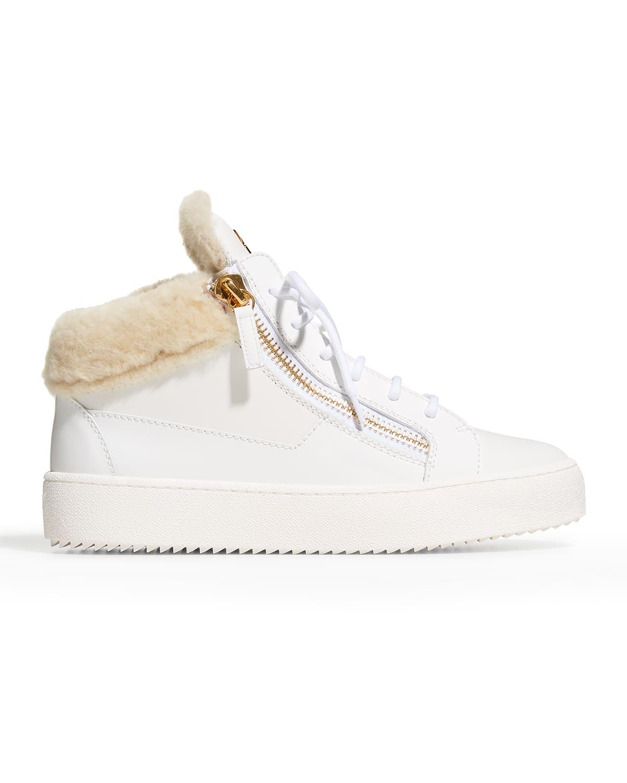 Leather Shearling Dual-Zip Sneakers