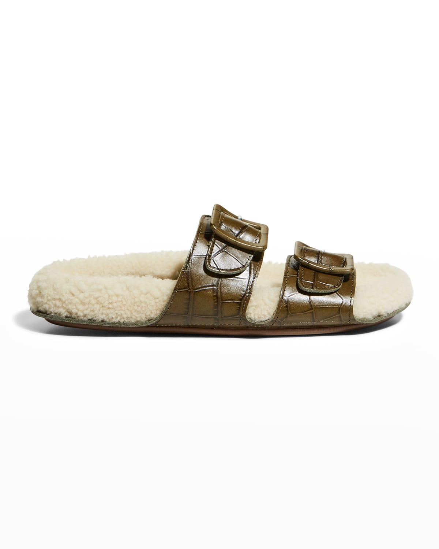 Loop Mock-Croc Shearling Slide Sandals