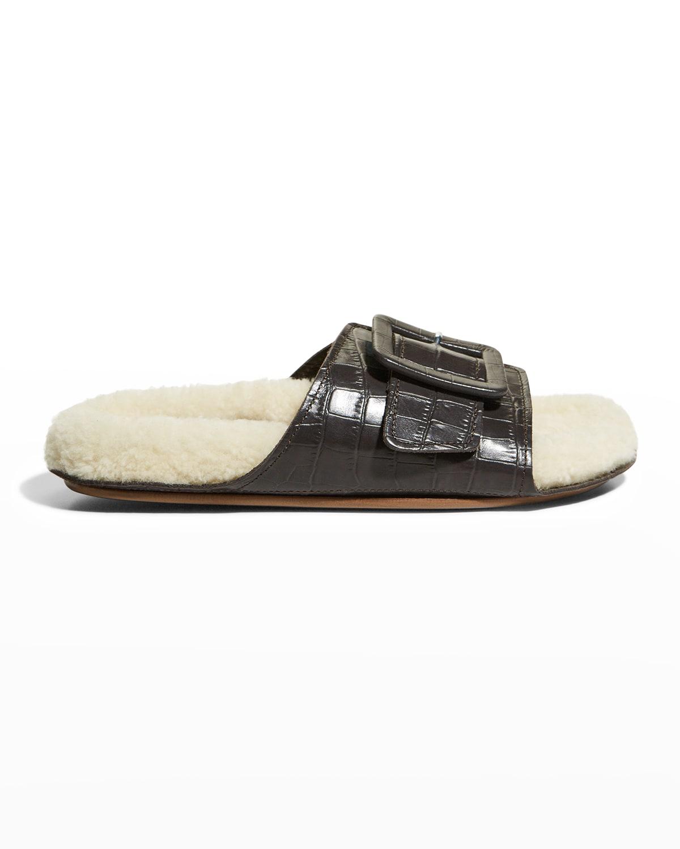 Loop Mock-Croc Buckle Shearling Slide Sandals