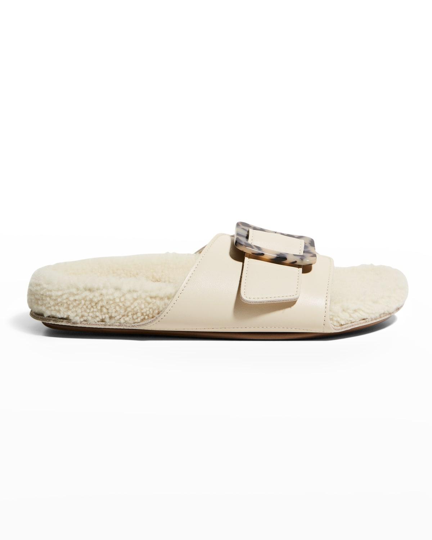 Loop Shearling Buckle Slide Sandals