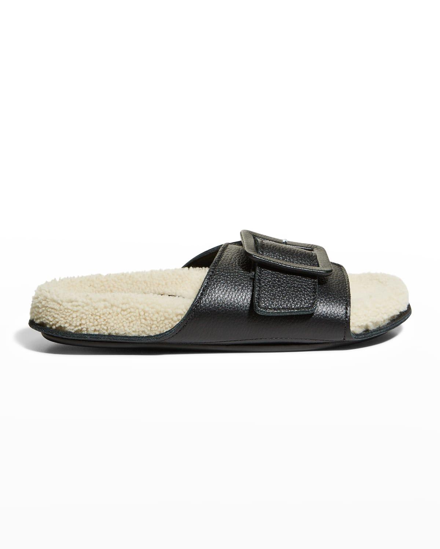 Loop Calfskin Shearling Slide Sandals