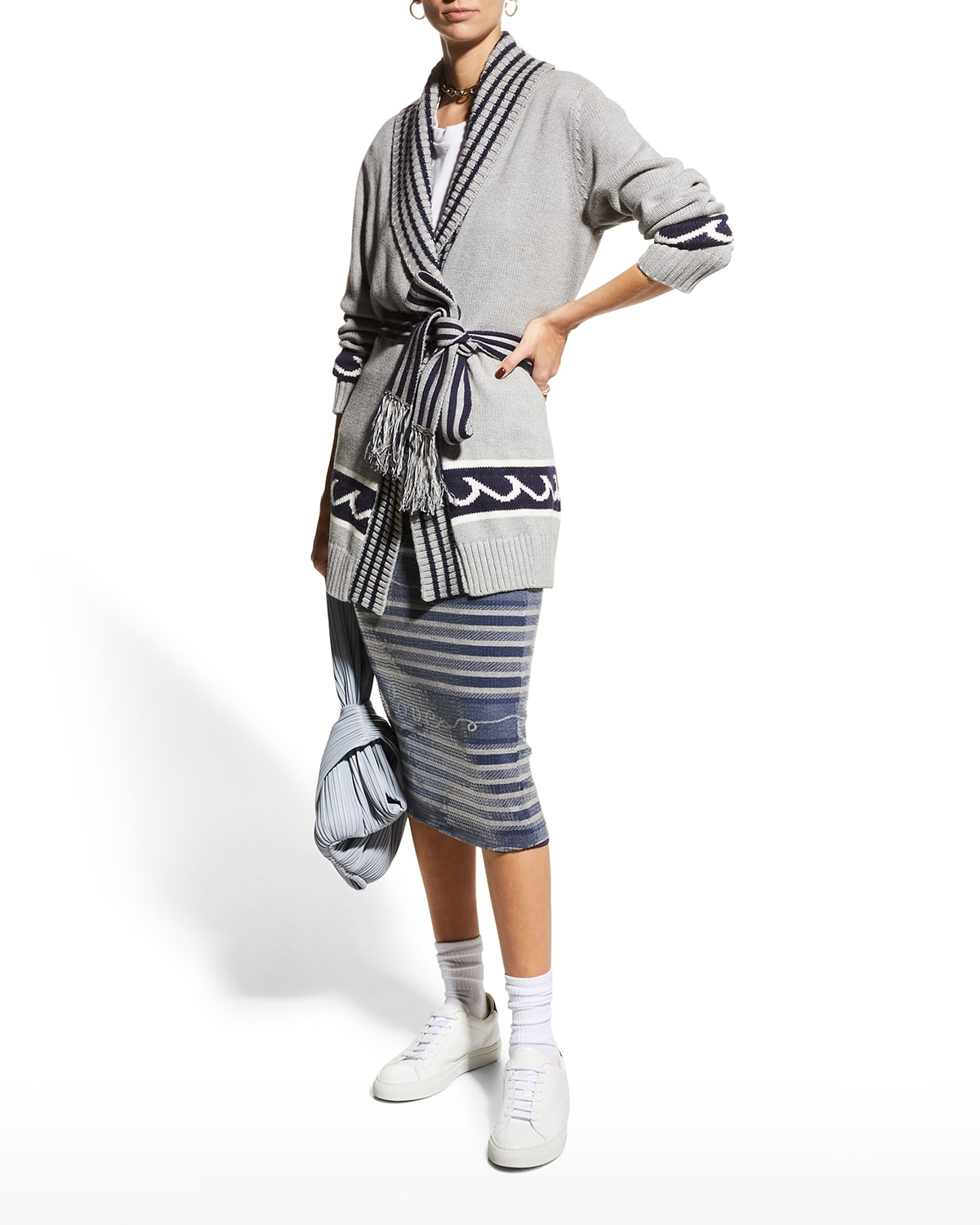 White Caps Belted Cardigan