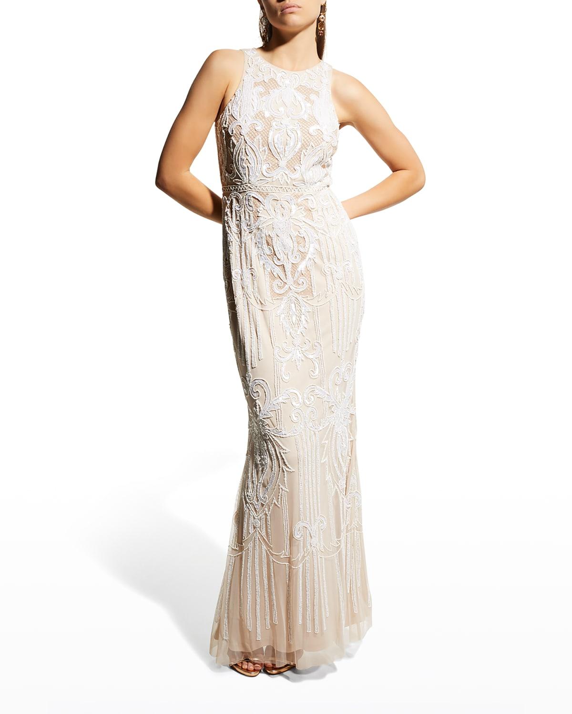 Sleeveless Beaded Column Gown