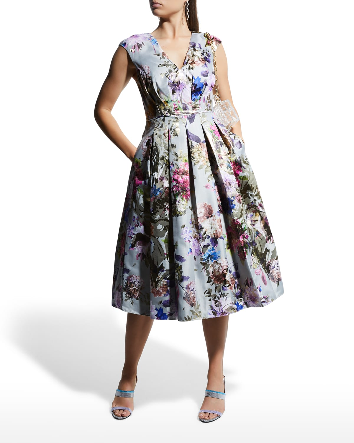 Floral Pleated-Bodice Cocktail Dress