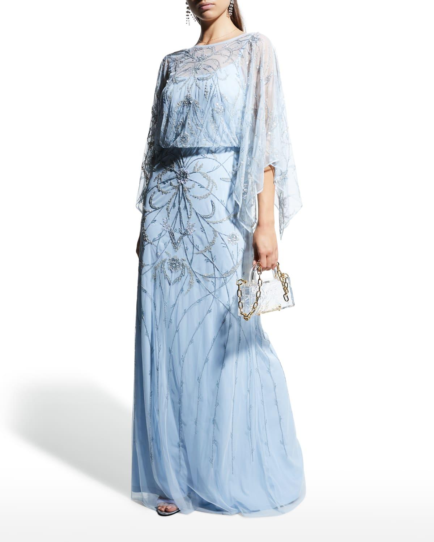 Blouson Beaded Tulle Gown