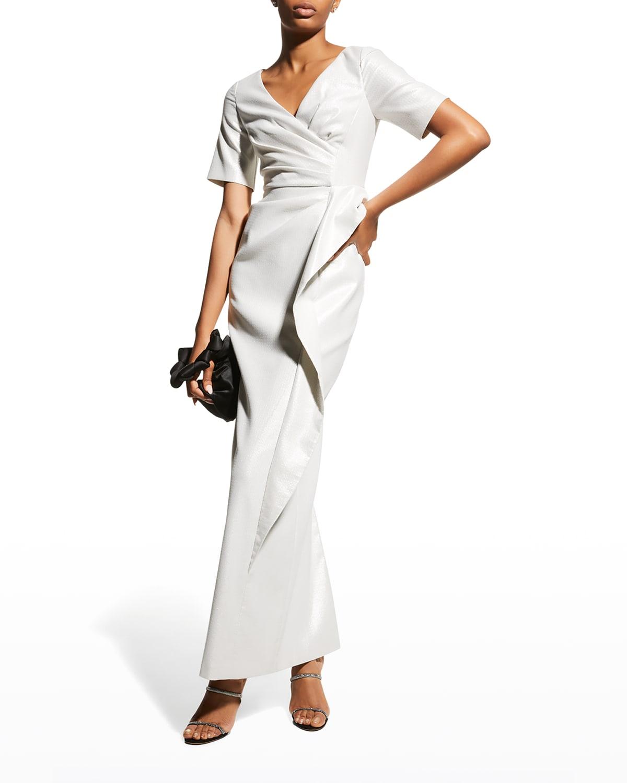 Ruched V-Neck Side-Drape Column Gown
