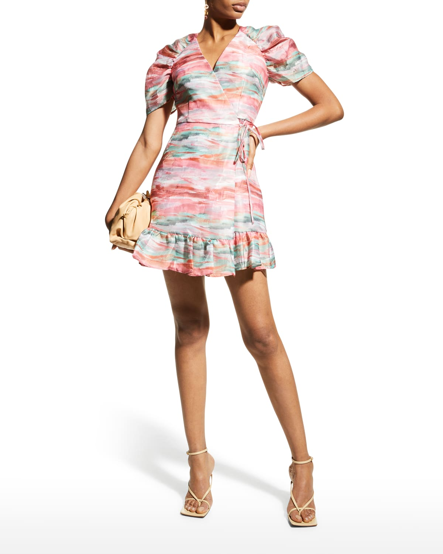 Short-Sleeve Ruffle Wrap Dress